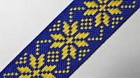 25мм Лента с орнаментом р.2954 синяя желтая