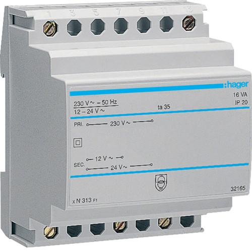 Трансформатор Hager ST313, 230В/24В, 230В/12В