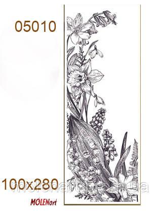 Графический файл для интерьерной печати. Цветы  черно белая графика