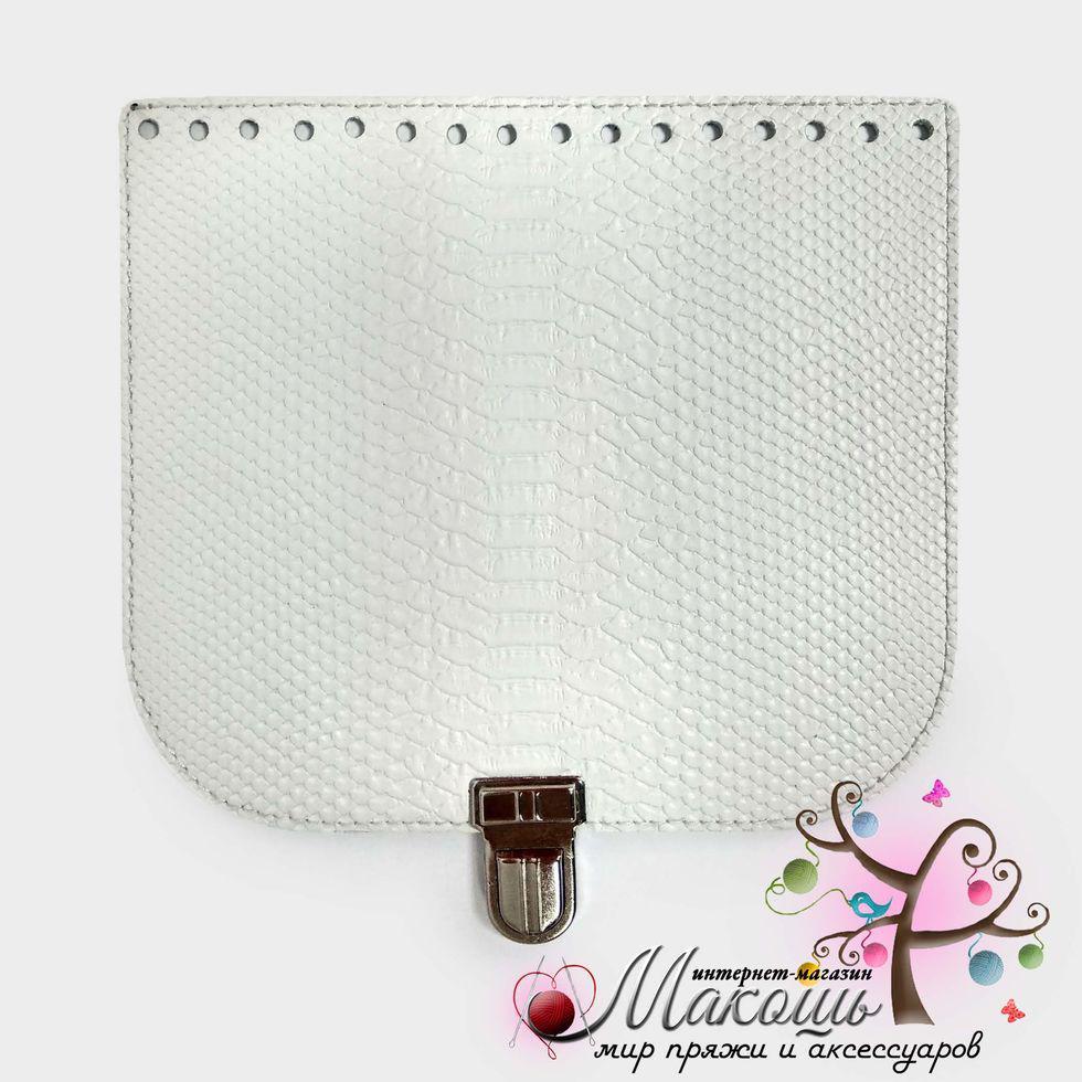 Клапан для сумки с замочком 20х18 см, 018, питон белый