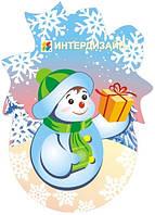 Декорация новогодняя настенная Снеговик
