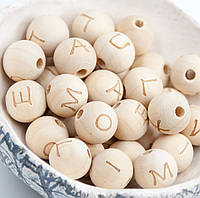 Деревянные бусины с буквами для слингобус и грызунков, 14 мм, клён, латиница