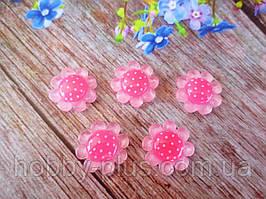 """Серединка, кабошон """"Цветочек розовый с малиновой серединкой"""", d18 мм"""