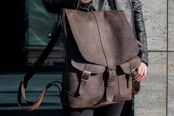 5909754c16b8 Женский рюкзак из кожы, стильный кожаный портфель Коричневый: 1 750 ...