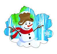 Настенный декоративный новогодний элемент Снеговик