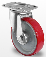Поворотное колесо диаметром 125 мм с полиуретановым контактным слоем и с роликовым подшипником нагрузка 200 кг