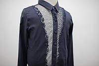 Блуза синяя для девочки с длинным рукавом с гипюровой вставкой, фото 1