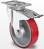 Поворотне колесо з гальмом 80 мм з поліуретановим контактним шаром і з роликовим підшипником навантаження 130 кг