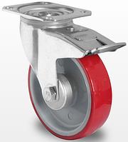 Поворотное колесо с тормозом 100 мм с полиуретановым контактным слоем и с роликовым подшипником нагрузка 150кг