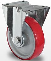Неповоротное колесо диаметром 80мм с полиуретановым контактным слоем и с роликовым подшипником нагрузка 130 кг