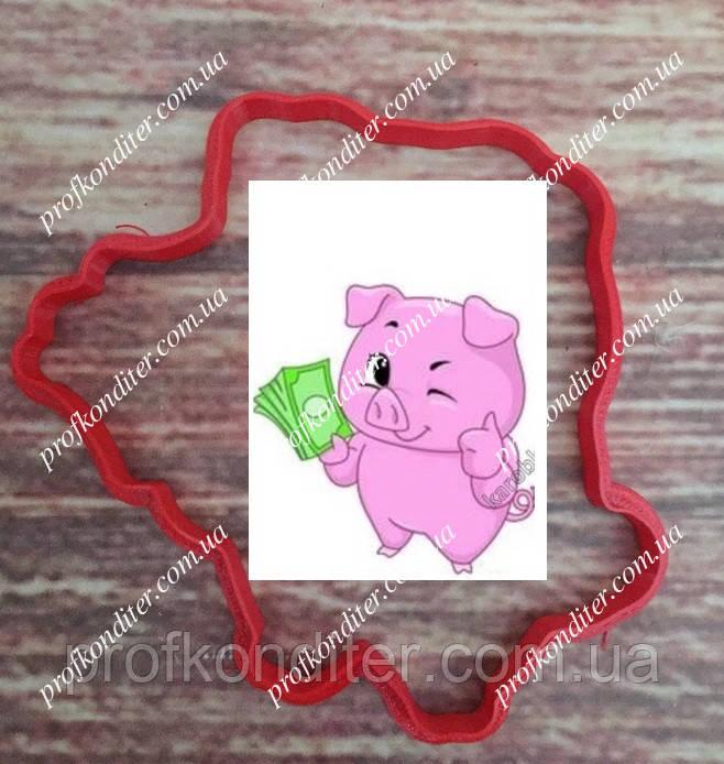 Пластиковая вырубка Свинка с деньгами