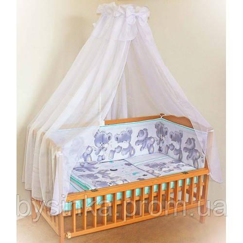 Защита,бортики, бампер, охранка, защитное ограждение в кроватку детскую-Мишки с подушкой-зеленый