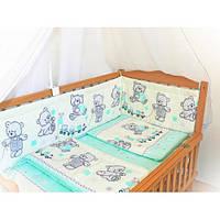 """Бортики и комплект постельки из 3х ед в детскую кроватку -№ 142 """"Мишки игрушки""""."""