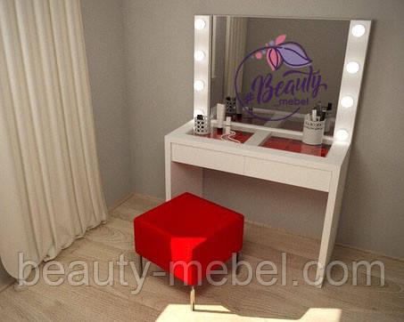 Гримерный столик с лампами по бокам зеркала, стол для визажиста