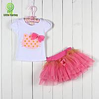 Красивый  детский комплект футболочка и юбка с Китти