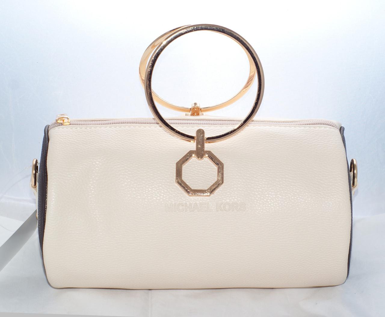Женская мини сумка Michael Kors (Майкл Корс), бежевая с коричневым, ... 8230555121a