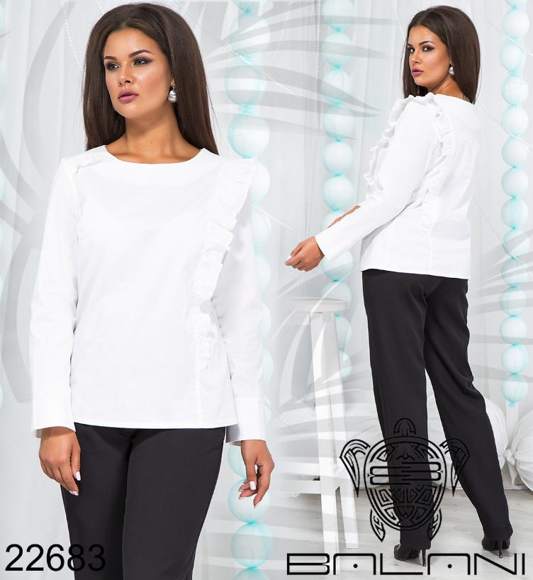 Женская блуза белая с рюшами большого размера недорого Украина интернет-магазин (р. 48-54 )