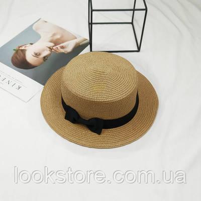 Шляпа женская летняя канотье с бантиком кофе с молоком