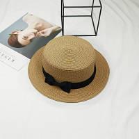 Шляпа женская летняя канотье с бантиком кофе с молоком, фото 1