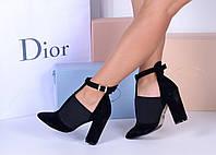 Черные босоножки - туфли на резинке. Натуральный замш, фото 1