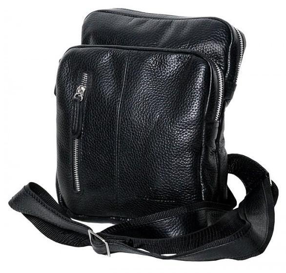 Кожаная мужская сумка Vip Collection 1447 Black flotar черная