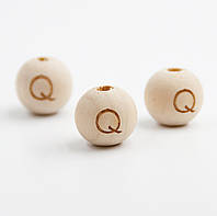 "Деревянная бусина ""Буква Q"" для слингобус и грызунков, 14 мм, клён, фото 1"