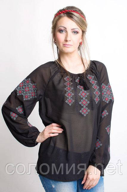 Интригующая женская рубашка с вышивкой из шифона 44-56 рр