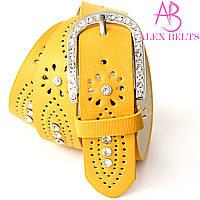 Ремень женский на шпеньке желтый перфорация камни 40 мм