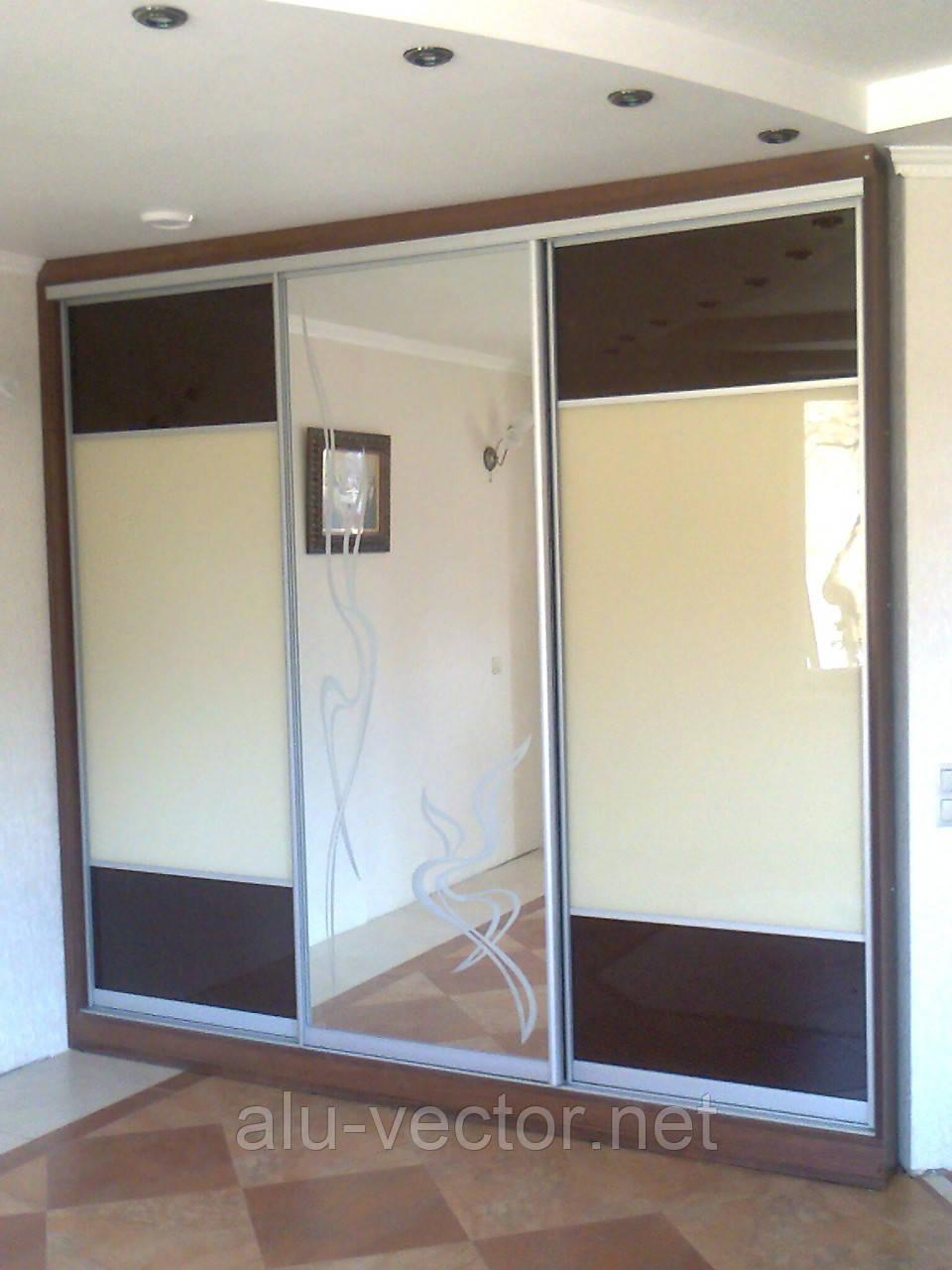 Двери-купе с зеркалом и стеклом