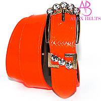 Ремень женский  заменитель джинсовый 40 мм ярко-оранжевый лак-купить оптом