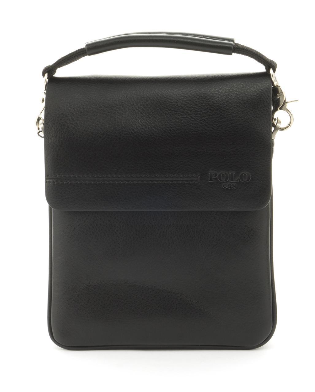 Качественная прочная мужская сумка почтальонка с качественной PU кожи POLO art. B358-1 черный