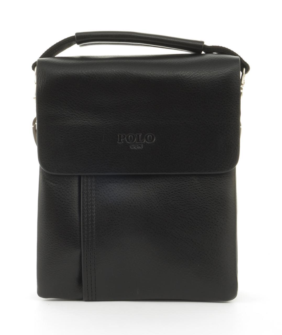 Качественная прочная мужская сумка почтальонка с качественной PU кожи POLO art. B372-1 черный