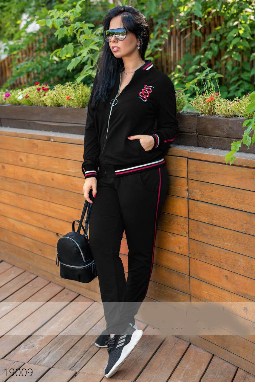 Женский спортивный костюм с нашивками три расцветки, Мода плюс