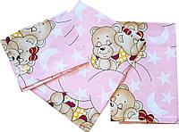 """Детское постельное белье """"Мишки спят"""", розовый от ТМ Бонна из 3 предметов"""