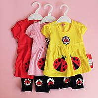 Детский трикотажный комлект туника и бриджи для девочки размер 9 мес, фото 1