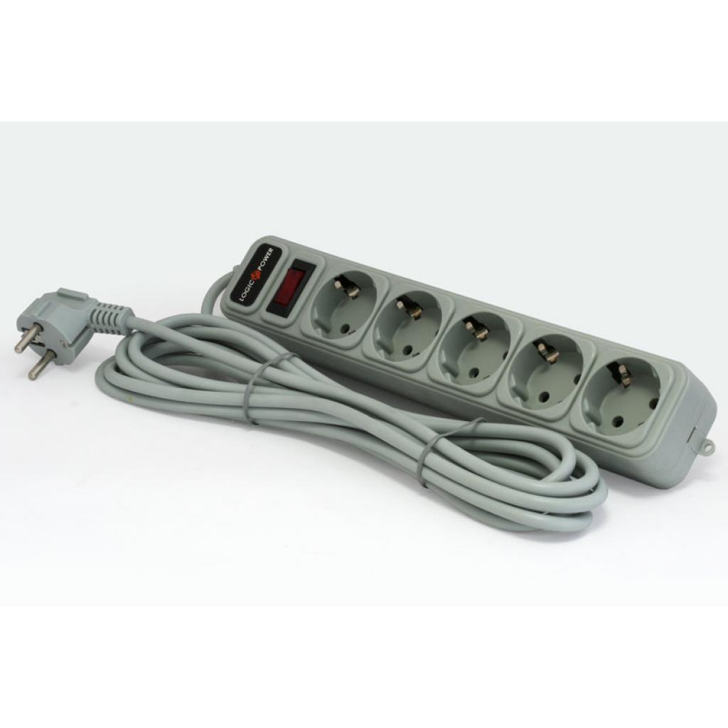 Сетевой фильтр LogicPower LP-X5, 3m, 5 розеток, серый