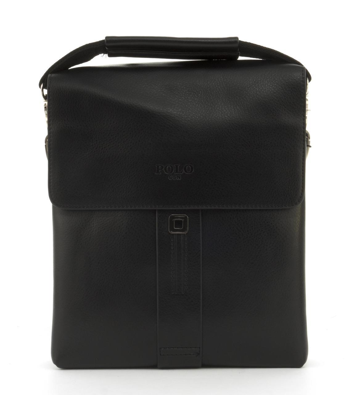 Качественная прочная мужская сумка почтальонка с качественной PU кожи POLO art. B336-3 черный