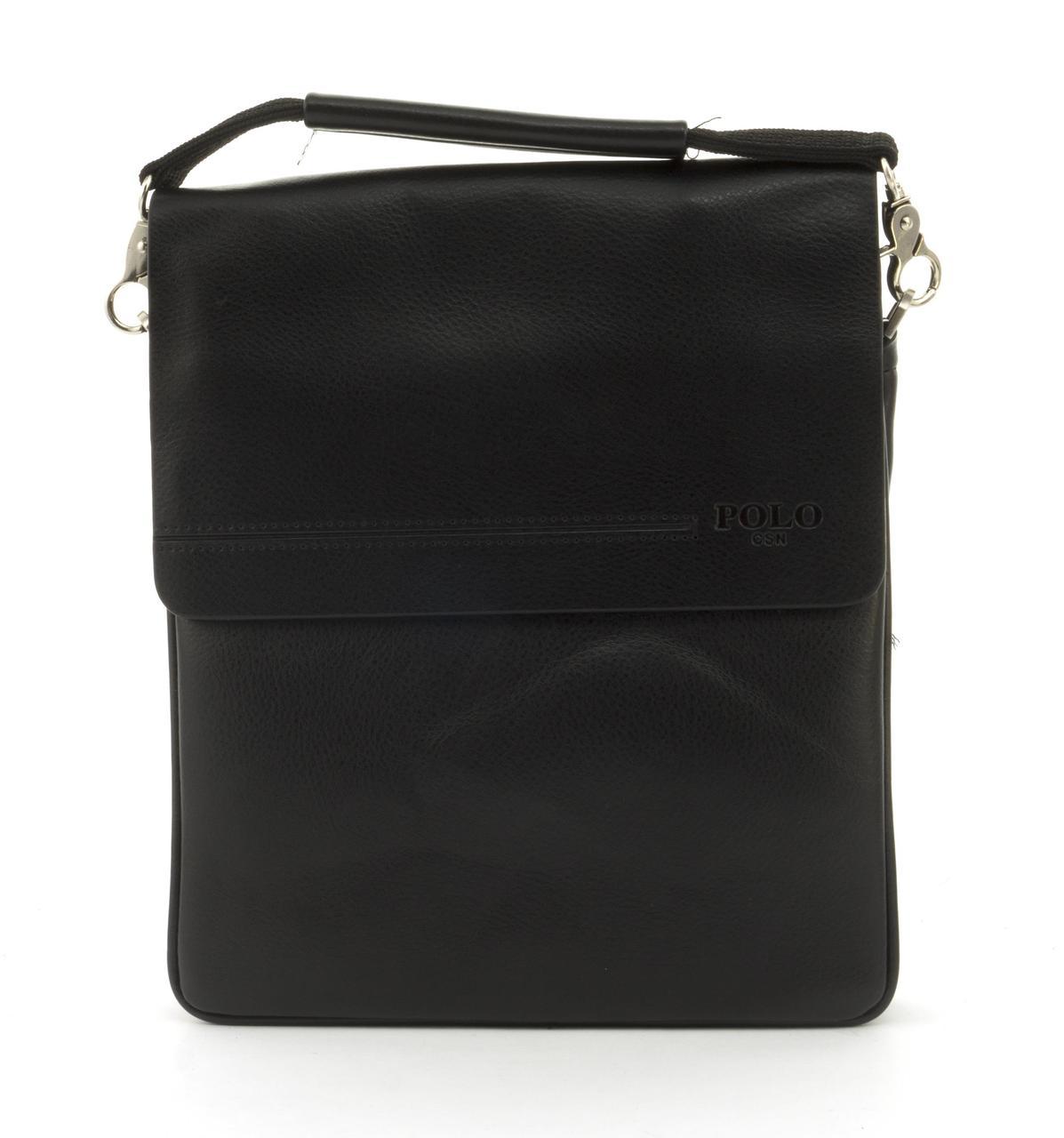 Якісна міцна чоловіча сумка почтальонка з якісної шкіри PU POLO art. B358-3 чорний
