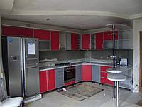 Красная кухня в С-профиле, фото 1