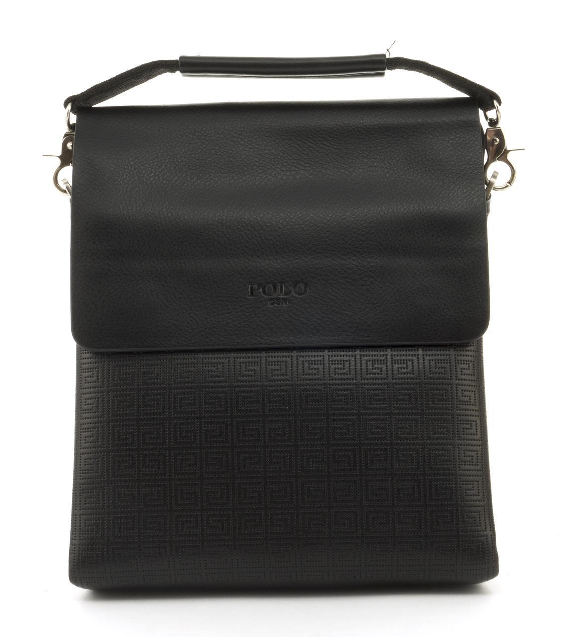 Качественная прочная мужская сумка почтальонка с качественной PU кожи POLO art. B373-3 черный
