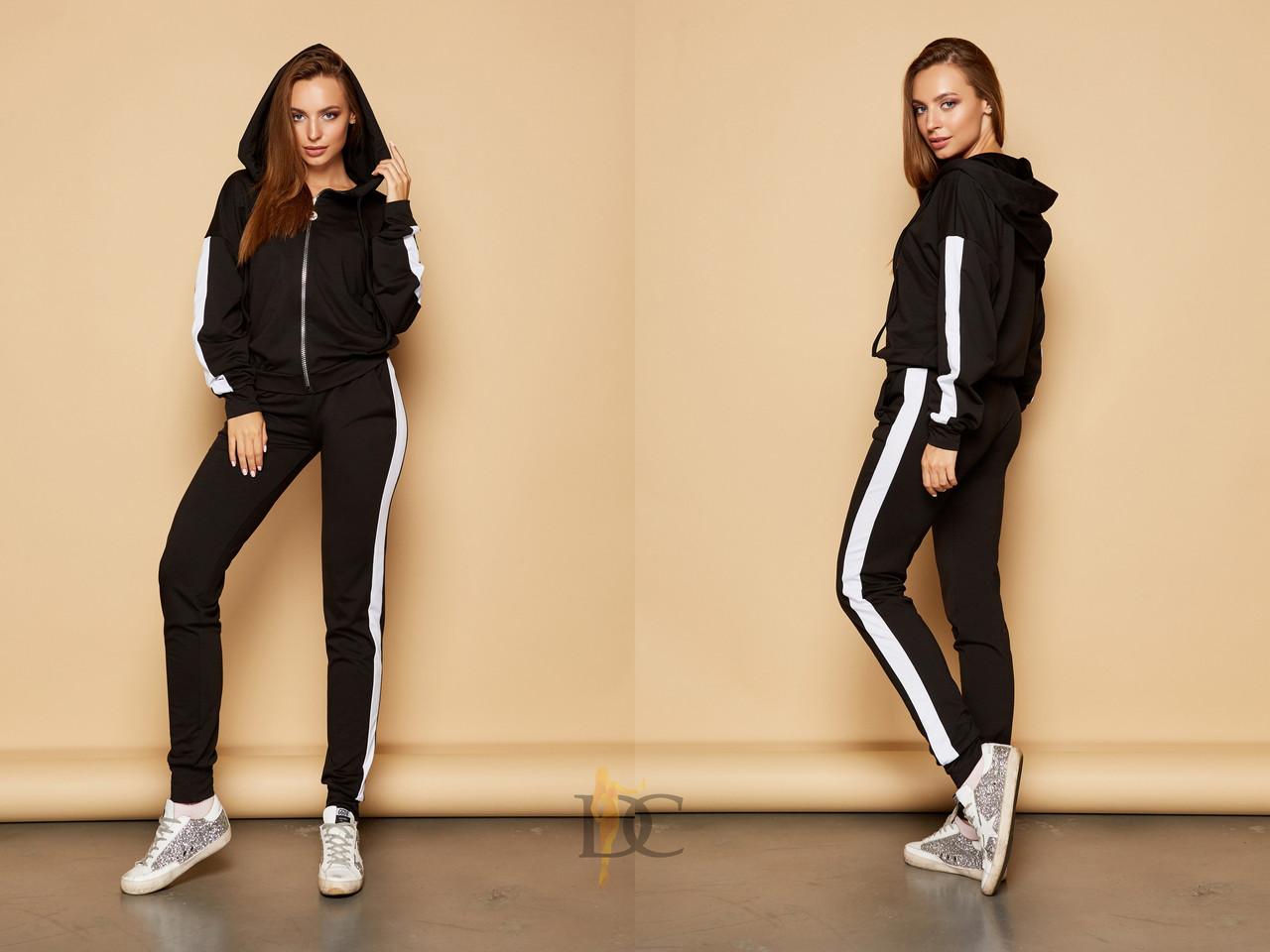 fd39e5c1 Черно-белый женский спортивный костюм с лампасами 3105398 - Интернет-магазин  одежды