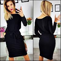 Черное платье с поясом Erika (Код 159) Реплика