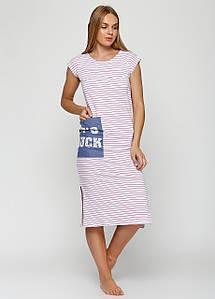 Женское платье в полоску  с разрезами по бокам и большим карманом