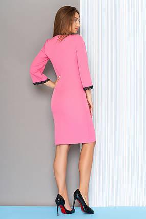 Модное платье на осень миди облегающее рукава три четверти кружева по краям розовое, фото 2