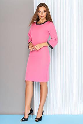 f57b44ba26c Модное платье на осень миди облегающее рукава три четверти кружева по краям  розовое