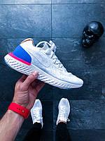"Кроссовки в стиле Nike Epic React Flyknit ""White & Racer Blue"""