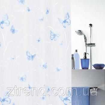 Шторка для ванной виниловая Spirella BUTTERFLY голубая