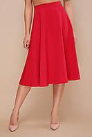 Базовая красная свободная юбка полусолнце длина миди мод. №19К