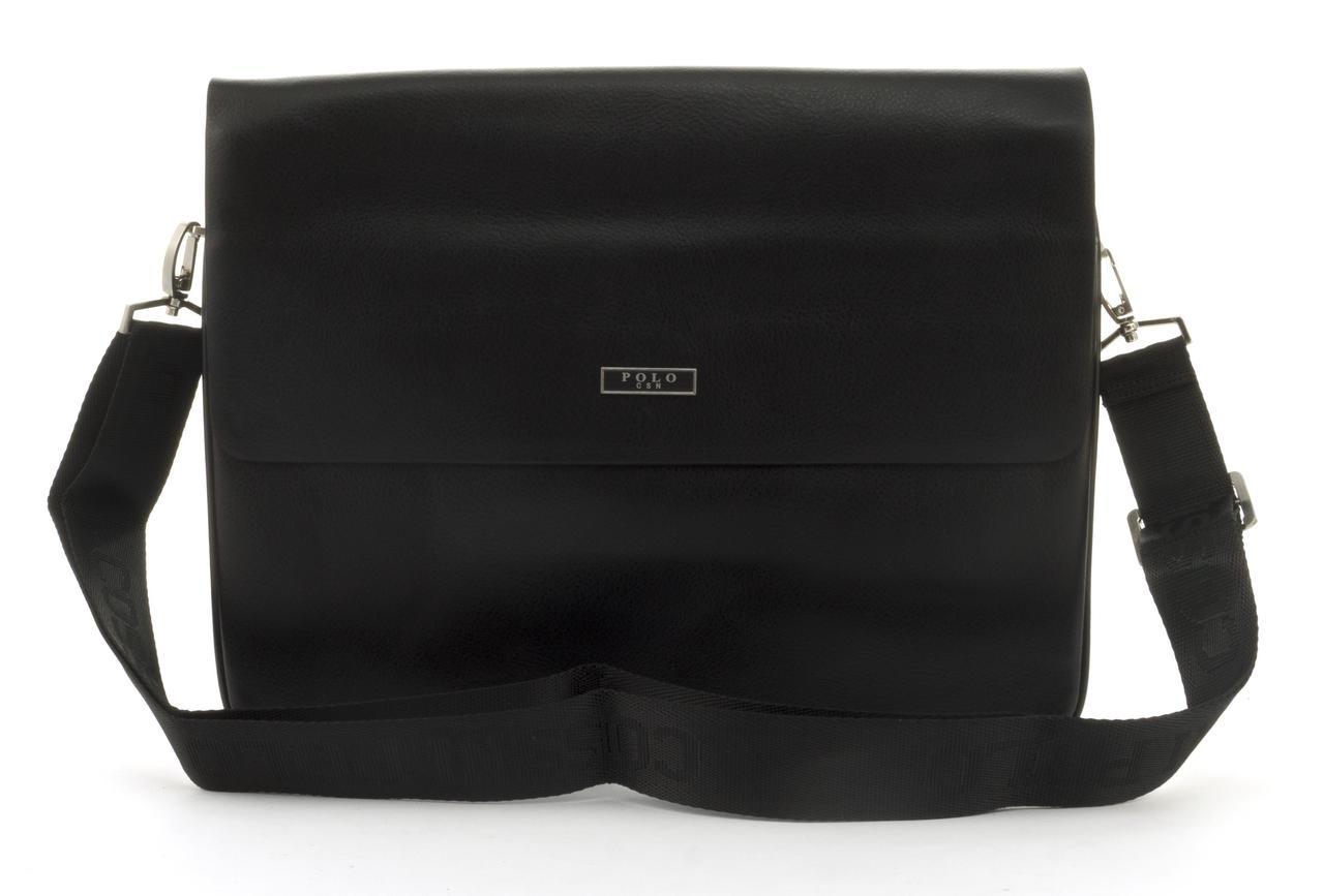 Качественная горизонтальная мужская сумка с прочной PU кожи POLO art. 866861-6 черная