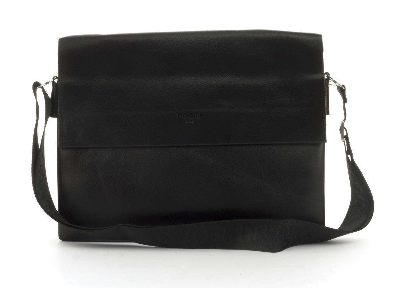 Качественная горизонтальная мужская сумка с прочной PU кожи POLO art. 6637-6 черная